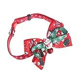 ECMQS Hundehalsband-Weihnachten Weihnachtsmann Haustier Hunde Katzen Welpen Einstellbare Krawatte Kragen Fliege mit Glocke