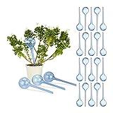 Relaxdays 24 x Bewässerungskugeln, Dosierte Bewässerung, 2 Wochen, Versenkbar, Deko, Topfpflanzen, Kunststoff, Blau