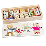 AiSi 72 PCS Holz Anziehpuzzle Anziehbär Anziehpuppenpuzzle Dress-Up Puzzle Pädagogisches Lernspielzeug für Kinder ab 3 Jahren (Bärenfamilie)