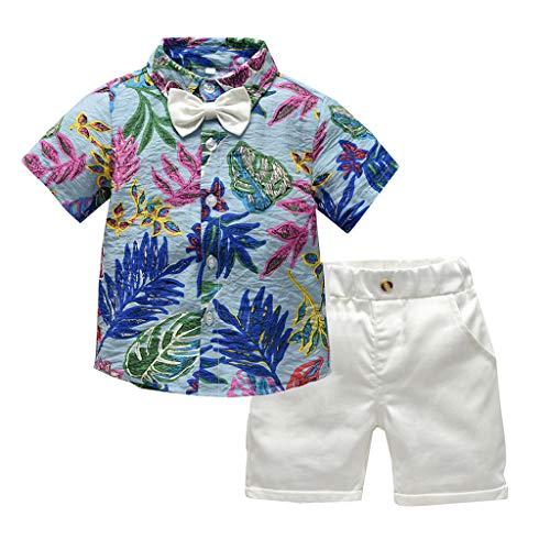 Sommer Haut Feuchtigkeitspflege (TTLOVE Kleinkind Baby Boy Bekleidung Kurzarm Fliege Gentleman Leaf T-Shirt Tops + Shorts Outfits,Jungen Kinder Sommer Kleidung Set Mode Kurze Und Hosen (Blau,130))