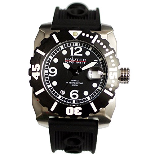 Nautec No Limit Men's Quartz Watch Anchor ANCH-QZ-RBSTBK-BK with Rubber Strap