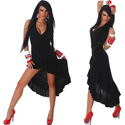 Jela London Damen Vokuhila Neckholder-Tanzkleid Abendkleid Latin Salsa Volant (34/36/38) Schwarz