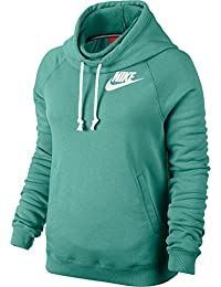 Nike Hoody Rally Funnel Neck - Sudadera con capucha para mujer, color verde, talla L