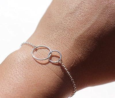 Cadeau Noël - Bracelet double cercles liés, meilleure amie, cercles de l'amour infini, argent massif 925