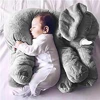 FairytaleMM Animal de Peluche Cojín Niños Bebé Durmiendo Almohada Suave Juguete con Forma de Elefante Lindo Muñeca de algodón Relleno y Felpa Suave, Gris