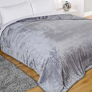 Dreamscene Mink Faux Fur Throw, Silver, 200 x 240 Cm