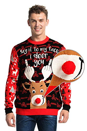 You Look Ugly Today Herren Weihnachtspullover Sweater Pullover Pulli Xmas Sweatshirt Rentier Weihnachtspulli Hoodie mit weihnachtlichen Motiven (Braun-fair-isle-pullover)