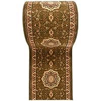 """Alfombra de pasillo - Diseño Oriental tradicional Clásica - Alta calidad - 3D Colección """" ISKANDER """" de Carpeto - Verde Beige - 90 x 350 cm"""
