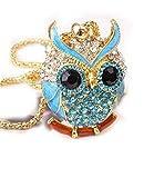 Lily Jewelry Ciondolo a Forma di Gufo, con Cristalli di Swarovski, Catenina Inclusa, Oro Giallo, Colore: Gold/Blue, cod. Lily-owl-11