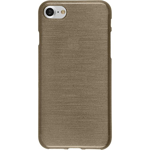 PhoneNatic Case für Apple iPhone 8 Hülle Silikon silber brushed Cover iPhone 8 Tasche + 2 Schutzfolien Gold