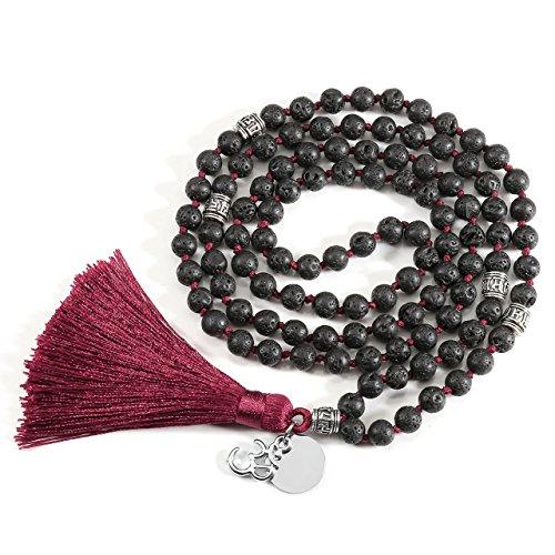 QGEM 108 Perlen Edelstein Yoga Armband Wickelarmabnd Chakra lebensbaum Buddha Buddhistische Tibetische Gebetskette Healing Reiki Mala Kette Halskette mit lebensbaum Anhänger (Weinrot -Lava Stein)