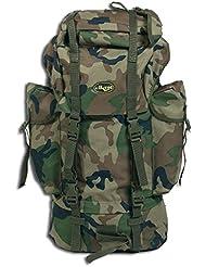 Mil-Tec Bw - Mochila (65 l), diseño militar Woodland Talla:32 x 15 x 64 cm