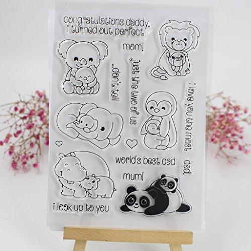 Ranuw Transparent Stempel (Tier) DIY Handwerk Silikon Clear Stamps Für Album Foto Sammelalbum Präge Scrapbooking