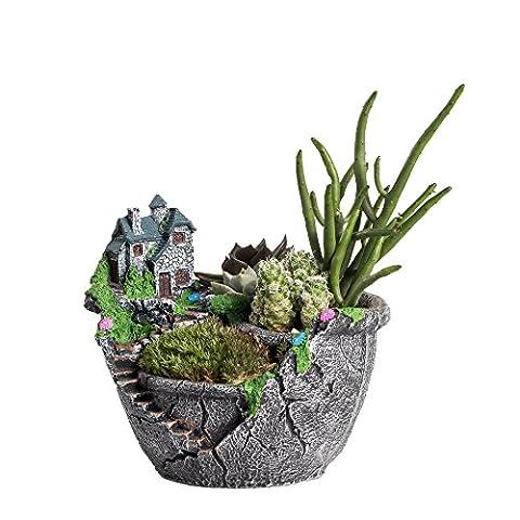Ncyp Jardin Féérique miniature Broken Sweet Pot de fleurs Maison Villa House on the Cliff Sky Château Sculpture Pot de fleurs Gris pour décoration pas de plantes
