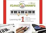 Piano Dwarfs_ENGLISCHE AUSGABE des Klavierzwerge Lern Set 1_Notenbuch 1 inkl. Zubehör | bilinguales Klavierspielen mit Freude erlernen | Klavierschule mit Notenheft für Kinder ab 4 Jahren