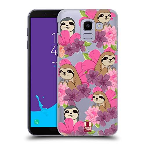 Head Case Designs Faultier Blumen Und Tiermuster Ruckseite Hülle für Samsung Galaxy J6 / On6 (2018)