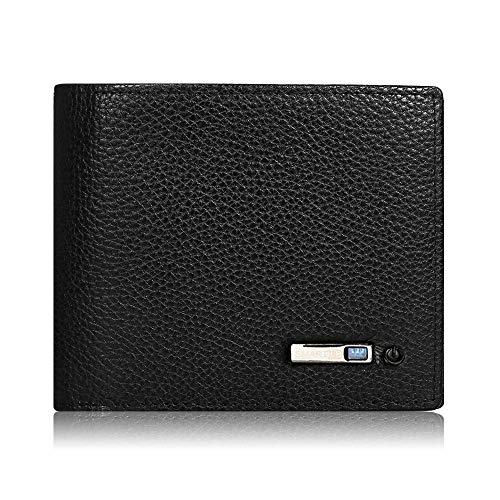 SMARTLB Herren Mini Smart Ledergeldbörse Wallet Finder Smart GPS Men PU Leather Card Holder In Querformat Geldbeutel (Schwarz) -