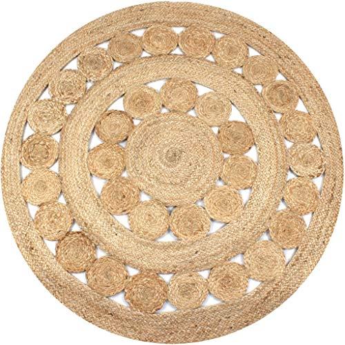Festnight- Teppich Flechtmuster Handgefertigt Jute für Das Wohnzimmer 150 cm Rund -