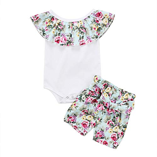 Wang-RX Baby Mädchen Kinder Baumwolle Strampler Overall Crop Tops Tank + Floral Shorts Prinzessin Outfit Kleidung - Floral Rib Tank