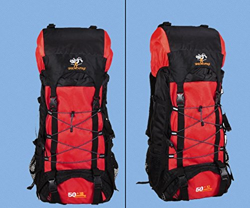 BM Outdoor Professionelle Bergsteigen Tasche 50L 60Liter Reise Camping Wandern Rucksack Mode Rucksack Pack rot