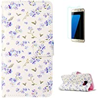 KaseHom Samsung Galaxy S7 + [Protector de Pantalla] Dibujos Animados Estuche Billetera de Cuero Folio con Ranuras para Tarjetas y Cubierta Flip magnética Slim Anti-Arañazos Case - Flowers