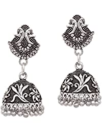V L IMPEX Oxidised Silver Plated Small And Lightweight Peacock Theme Jhumka Jhumka Earring Jewellery For Women...