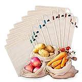 Kupton Lot de 10 sacs en maille réutilisables en coton biologique lavable pour ranger les fruits et légumes, les courses, les jouets, les sacs à cordon de serrage légers (5 L - 2 M - 3 petits)