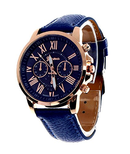 Geneva Platinum Analog Blue Dial Women's Watch (GP-083)