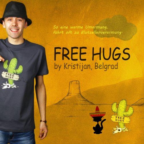 Free Hugs - Herren T-Shirt von Kater Likoli Anthrazit