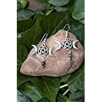 Pendientes con el símbolo de la triple luna, Regalo mujer celta, Pendientes espirituales, Druida, Celtas, Lohas, Amuleto, pentagrama, wicca, bruja, pagano, brujería, esotérico