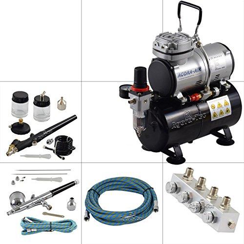 Komplett-Set PROFI XIII.1, inkl. 4 Bar Kompressor , 21,6l/min und 3 Liter Tank + 2 Airbrushpistolen mit 0,2 & 0,3 & 0,5 & 0,8mm Nadeln/Düsen + regelbaren 4-fach Luftdruckverteiler + 2 Schläuche + Adapter ()