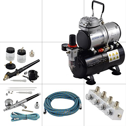 Agora-Tec® Airbrush Komplett-Set PROFI XIII.1, inkl. 4 Bar Kompressor , 21,6l/min und 3 Liter Tank + 2 Airbrushpistolen mit 0,2 & 0,3 & 0,5 & 0,8mm Nadeln/Düsen + regelbaren 4-fach Luftdruckverteiler + 2 Schläuche + Adapter -