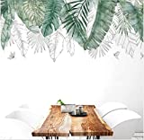 XQWZM Fresco Natural Verde Tropical Árbol De Rafia Hojas Etiqueta De La Pared De Vinilo DIY Mural Art Sticker para La Sala De Estar Dormitorio Tatuajes De Pared