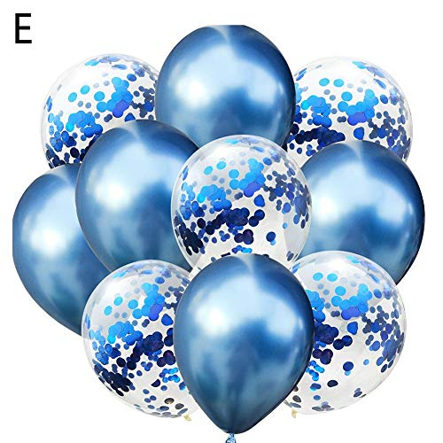 6 Farben Pailletten-Metall-Kombinations-Latexballon, Set enthält 5 Pailletten-Ballons und 5 Chrom-Ballons, geeignet für Geburtstags-Hochzeitsfeiern, Baby Shower (Rot, Gold, Silber, Grün, Blau, Purpl