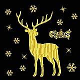 SXRAI Stickers muraux Flocon De Neige De Noël Amovible Accueil Vinyle Fenêtre d'or Stickers Muraux Décalque Décor De Noël Transparent Fenêtre Papier Peint,C1