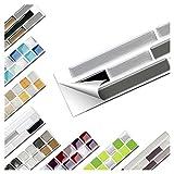 Wandaro 5er Set Fliesenaufkleber 27,9 x 4,3 cm schwarz grau Silber Ziegel Design 13 I 3D Aufkleber Fliesenfolie Mosaik Bad Küche W3467