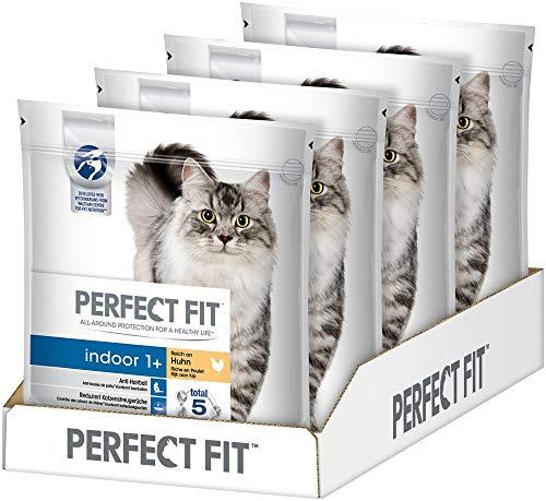 Perfect Fit Katzenfutter Trockenfutter Indoor Adult 1+ Reich an Huhn, 4 Beutel (4 x 1,4 kg)