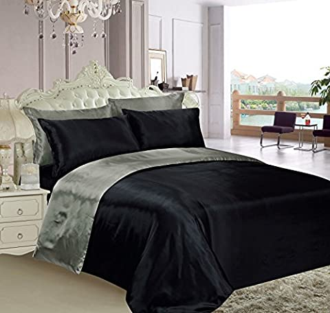 Black & Grey Reversible Satin Silk, Duvet Cover, Fitted Sheet, 4 Pillowcases Set Double Size 6 pcs By Labelduck