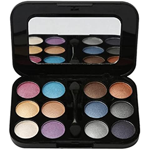 FAMILIZO Nuevo 12 Color Pro gama de colores del cepillo cosméticos con el conjunto de espejos de maquillaje