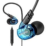 ROCUSO Security Kopfhörer 3,5mm Die Hinter Ohr Gehen mit Mächtig Bass Dynamisch Stereo für iPhone Samsung LG Blau