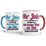 Tassendruck Partner-Tassen Mann, Frau geheiratet / -Ihr Jahr - / Individuell/Selbst Gestalten/Liebe / Ehe/Hochzeits-Tag/Geschenk-Idee / 2er Set/Innen & Henkel Rot und Hellblau