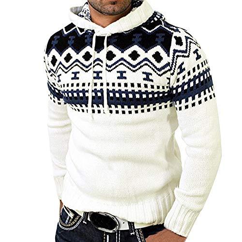 Celucke Herren Kapuzenpullover Strickpullover Norweger Pullover Langarm Sweatshirt Winter Warm Pulli Feinstrick Winterpullover Winter Herren Sweatshirt