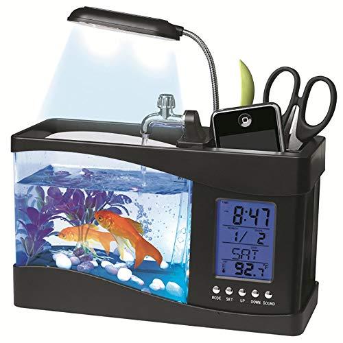 YXYXN Multifunktions Desktop Aquarium, Kleines öKologisches Zier-Goldfischbecken, Kreatives Acryl-Desktop-Aquarium Mit LED-Lichtern, USB-Aufladung,Black -