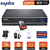 SANNCE 4 Canales DVR TVI 720P 5-en-1 Grabador de Video H.264 P2P Seguridad CCTV Sistema de Vigilancia Detección de Movimiento-1TB Disco duro de vigilancia