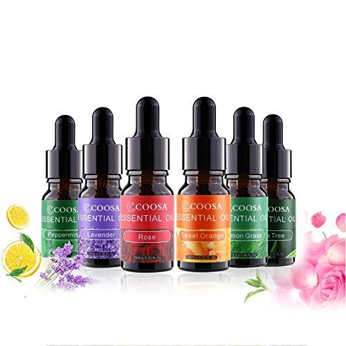 COOSA Oli essenziali - Best Set of 6 - Olio dell'albero del Tè, Olio di Menta Piperita, Olio di Limone, Olio di Lavanda, Olio di Arancio Dolce, Olio di Rosa per Diffusore di Aromi - Sei Bottiglie da 1 (10ml-6)
