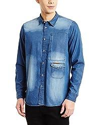 blackberrys Mens Casual Shirt (8907196395007_US-IDG064-UC2-F2_42_Indigo)