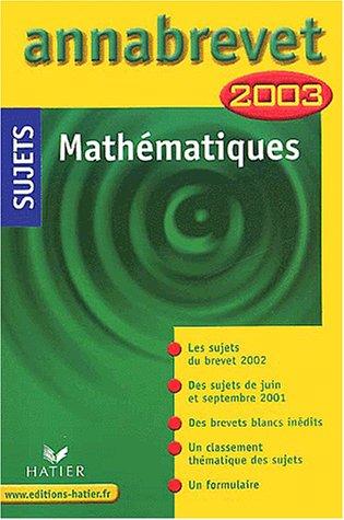 Mathématiques, sujets 2003