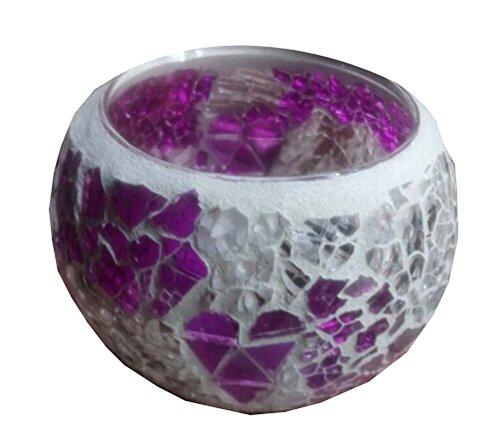 Magnifique porte bougie Decortaive Mosaïque Photophore en verre Violet