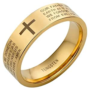 New Mens Tungsten Ring Brand New. Engraved with The Lords Prayer in ENGLISH . Available in Most Sizes Click Through to see other Sizes Comes in a Quality Velvet Gift Box