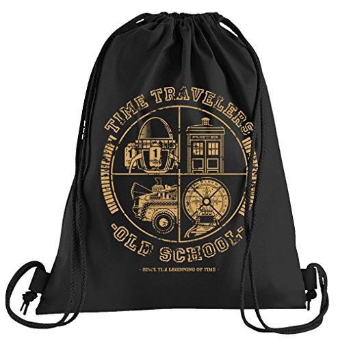 T-Shirt People All Time Travellers Sportbeutel – Bedruckter Beutel – Eine schöne Sport-Tasche Beutel mit Kordeln Zukunft Flux Delorean ()